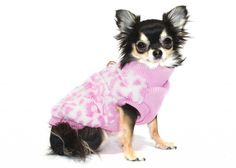 side view of ip Doggie Luxurious Cheetah Mink Sweater Vest for dogs in color Pink as shown on dog