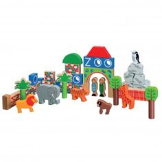 Don't cage your child's imagination, let them use their own initiative when building with our wooden zoo themed blocks