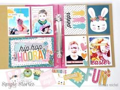 Hop Into Spring By Odessa Reichel! Hip Hop Hooray, Bold Colors, Colours, Color Fly, Spring Photos, Simple Stories, Journal Cards, Spring Time, Album Covers