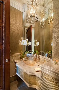 Detailed Powder Room ~Live The Good Life - All about Wealth Luxury lifestyle mindfultravelbysara.com #luxury #lifestyle
