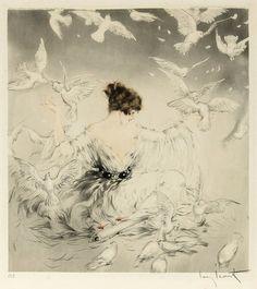 Louis Icart - Doves, 1922