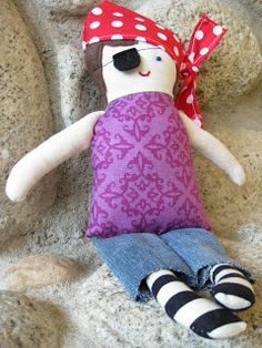 alipyper: Pirate doll made from free Black Apple Doll pattern