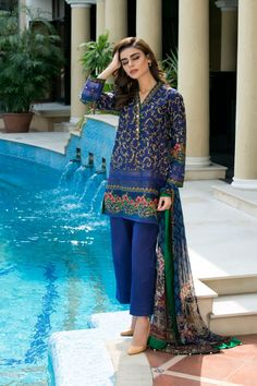 Al Karam SS 137 17 Blue Spring Collection 2017 Volume 2 Price in Pakistan famous brand online shopping, luxury embroidered suit now in buy online & shipping wide nation..