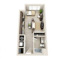 In Crescent Cameron Village, clean lines make this studio feel spacious and modern.