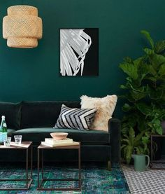 Blue Green Emerald Wall Palm Wing Feather Tropical Print Minimalist Botanical Etsy