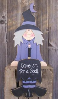 Cute Halloween Witch wood craft