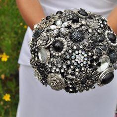 Silver & black Brooch Bouquet by Blue Petyl #wedding #bouquet