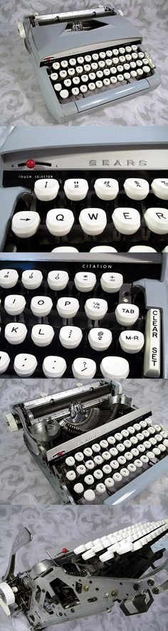 Sold Vtg 1960's SEARS Manual Typewriter CITATION Light Blue and White Keyboard Model 871.1430 W/ Case Made in USA