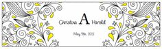Water Bottle Labels. Printable Wedding Invitations Paisley Christina Suite: Yellow and Black