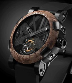Romain Jerome Titanic -DNA – Rusted steel from the Titanic on the bezel, and exposed Tourbillon subdial, set into a carbon-fiber dial. Amazing Watches, Beautiful Watches, Cool Watches, Unique Watches, Army Watches, Romain Jerome, Mode Masculine, Luxury Watches For Men, Titanic