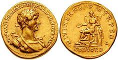 #Moneta aurea di Adriano, Roma. Se prima avere il viso sbarbato faceva parte della tradizione, con Adriano, l'imperatore filosofo innamorato della cultura possiamo notare un approccio diverso