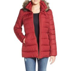 MICHAEL Michael Kors Hooded Down & Feather Fill Coat with Faux Fur... ($150) ❤ liked on Polyvore featuring outerwear, coats, oxblood, petite, slim coat, michael michael kors coat, fur trim puffer coat, hooded quilted coat and petite coats