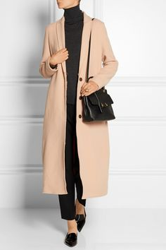 LANVIN Small textured-leather tote LANVIN Wool coat MCQ ALEXANDER MCQUEEN Cropped satin-trimmed crepe straight-leg pants MICHAEL KORS Cashmere tank