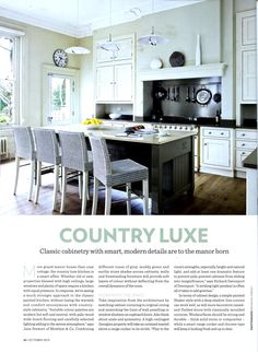 Country Luxe: classic cabinetry with smart modern details: bespoke kitchens from Martin Moore & Company http://martinmoore.com Homes & Gardens Dream Kitchens October 2013