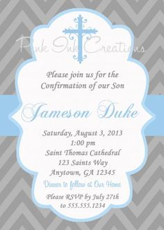 Boys Baptism Invitation - CHEVRON, Baby Dedication, First Communion, Confirmation, Christening - Any Color -  PRINTABLE -  YOU Print by PinkInkCreations for $13.50