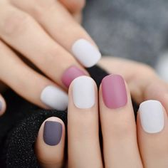 Purple Matte Squoval Faux Nails – Fake Nail Store Nail Store, Nail Length, Round Nails, Nail Set, Short Nails, Nail Tips, Color Mixing, Purple, Round Wire Nails