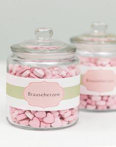 Banderolen für die Candybar - weddingstyle.de