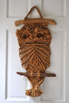 70s macrame owl towel hanger by philsoldstuff on etsy my. Black Bedroom Furniture Sets. Home Design Ideas