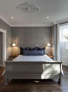 grasscloth wallpaper of contemporary bedroom