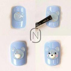 15 ideas for nail art diy glitter simple 3d Nail Art, 3d Acrylic Nails, Animal Nail Art, Almond Acrylic Nails, 3d Nails, Kawaii Nails, Nailart, Flower Nail Art, Nail Swag
