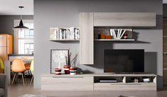 Composición de muebles de salón con acabados en roble shamal