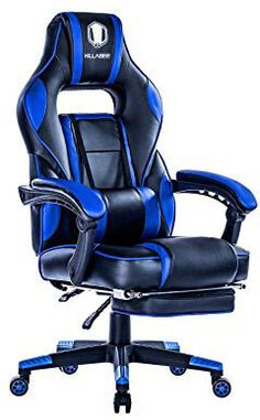 KILLABEE Racing PC Gaming Chair Ergonomic High-Back Reclining Office Desk Chair Swivel with Retractable Footrest and Adjustable Lumbar Cushion, Blue&Black Mixed Dining Chairs, Farmhouse Dining Chairs, Dining Chair Slipcovers, Kitchen Dining, Leather Recliner Chair, Swivel Recliner, Leather Chairs, Teal Accent Chair, Small Accent Chairs