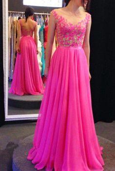 Wishesbridal Fuchsia Illusion Sweep Train #Chiffon A Line Prom #EveningDress Cwb0481