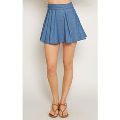 Chambray Paneled Skater Skirt ($17) ❤ liked on Polyvore featuring skirts, blue, blue skirt, blue pleated skirt, skater skirt, blue flared skirt and blue circle skirt