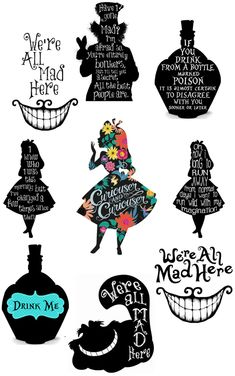 alice in wonderland quotes These sticker are very easy to use and look great! use drop down boxes for all options. Available individually in 3 sizes or. Only for interior use as not waterproof. perfect for walls, furniture any hard smooth surface. Alicia Wonderland, Alice And Wonderland Tattoos, Alice In Wonderland Silhouette, Alice In Wonderland Characters, Alice In Wonderland Decorations, Alice In Wonderland Tea Party, Alice In Wonderland Printables, Cheshire Cat Alice In Wonderland, Gato Alice