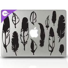 Feather decals for the fashionista laptop or home decor    MAC DECALS vinyl laptop stickers Wall Computer Geekery- Woodland Feathers - Removable Decal 52. $9.98, via Etsy.