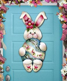 Easter Bunny Hugs Spring Wooden Decorative Door Hanger by Jamie Mills-Price . G.DeBrekht together with talented artist and teacher Jamie Mills-Price have created 30 new artistry creations to decorate your holiday home for Christmas, Halloween Easter and Thanksgiving. Handcrafted from high quality ¼