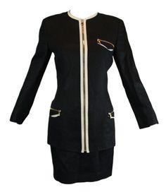 A/W 1991 Gianni Versace Black Linen Skirt Suit 38