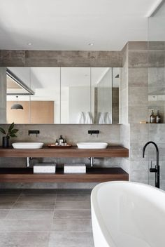 Bathroom ideas, bathroom remodel, master bathroom decor and master bathroom organization! Master Bathrooms can be beautiful too! From claw-foot tubs to shiny fixtures, these are the master bathroom that inspire me the most. Contemporary Bathroom Designs, Bathroom Tile Designs, Bathroom Layout, Bathroom Interior Design, Bathroom Styling, Bathroom Ideas, Restroom Ideas, Bathroom Organization, Bathroom Storage