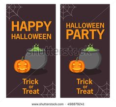 Happy Halloween and Party poster with smiling pumpkin head jackA vector flat style with the text and pumpkin with the raging cauldron. The leaflet, a banner, a poster, for the holiday Halloween.