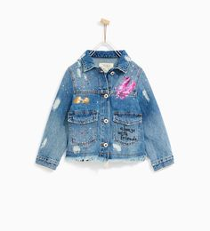 Image 1 of DENIM JACKET WITH PAINT SPLATTER AND STUDS from Zara