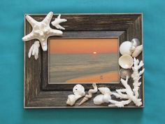 Seashell Photo Frame Shell Picture Frame by TheSleepySeahorse