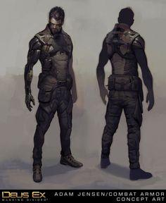 Adam Jensen's New Combat Armor, Frédéric Bennett on ArtStation at https://www.artstation.com/artwork/adam-jensen-s-new-combat-armor