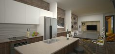 Rendering of K Street Guest House kitchen.