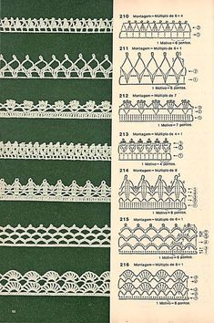 These free crochet tips are always helpful to use in dish towels, napkins or even in swaddling babies or crochet fronhas. Tina s handicraft 128 designs patterns for trimmings 121 Models of Nozzles and Barred in Crochet for you Crochet Edging Patterns, Crochet Lace Edging, Crochet Borders, Crochet Diagram, Crochet Chart, Lace Patterns, Crochet Designs, Crochet Doilies, Crochet Stitches