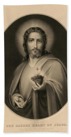Sacred Heart Beach Towels | Fine Art America Jesus And Mary Pictures, 1 John 4 19, Heart Of Jesus, Sacred Heart, Love Him, Fine Art America, Bible Verses, Towels, Statue