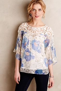 Anthropologie EU Florafall Peasant Top