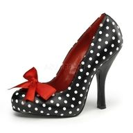 Retro black and white polka dot heels with red bow