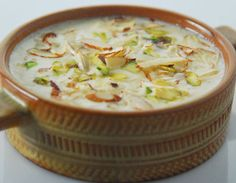 Rice kheer garnished with charoli, almonds and pistachios.