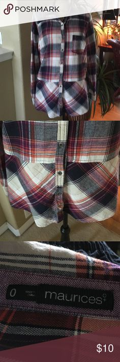 Maurices long plaid flannel shirt Red and blue plaid shirt Maurices Tops Button Down Shirts