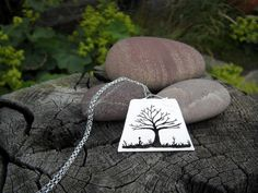 Beech tree in hedge sterling silver pendant by Ruth Makes Jewellery