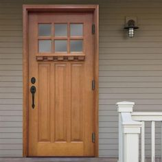 Steves & Sons 36 in. x 80 in. Craftsman 6 Lite Stained Mahogany Wood Prehung Front Door - M3306-6-AW-MJ-6OLH - The Home Depot