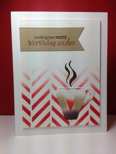coffee cup die and What's Brewing: Simon Says Stamp, stencil, ombre, by beesmom - Cards and Paper Crafts at Splitcoaststampers