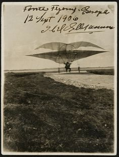 First Aeroplane Flight in Europe. An original signed photograph of Jacob Christian Hansen Ellehammer (1871-1946), recording the flight of his semi-biplane on Lindholm Island, Denmark.