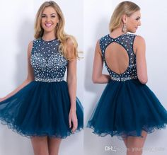 Latest Sparkly 2014 Sexy A-Line Sheer Neck Backless Ruffles Short Beaded Colorful Crystals Tulle Graduation/Cocktail/Homecoming Dresses