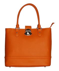 Take a look at this Leather Brown Imperia Tote by Made in Italia on #zulily today!